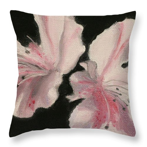 Still Life Throw Pillow featuring the painting Azaleas by Sarah Parks