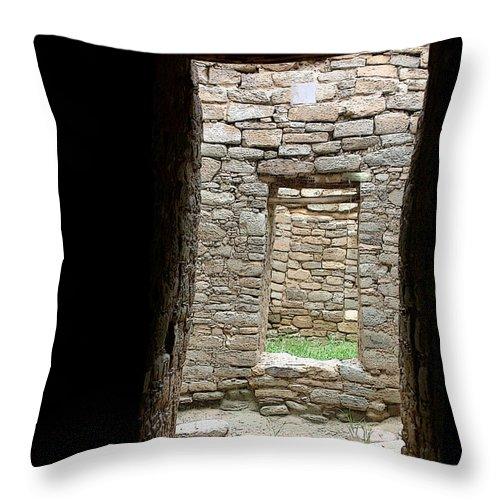 Ruins Throw Pillow featuring the photograph Aztec Doorway by Joe Kozlowski