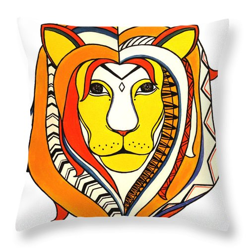 Lion Throw Pillow featuring the painting Golden Aztec Lion by Allison Liffman