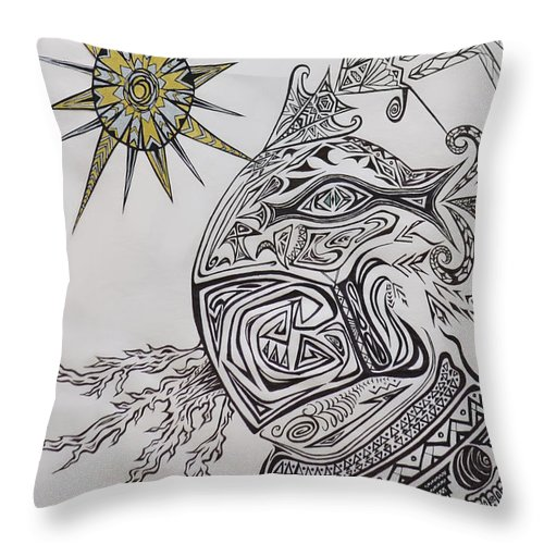 Aztec Throw Pillow featuring the drawing Aztec by Michelle S White