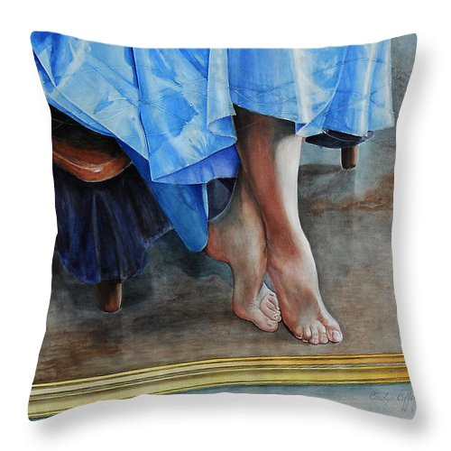Art Throw Pillow featuring the painting Through The Looking Glass- A Vision In Azure, Prelude To A Dance by Carolyn Coffey Wallace