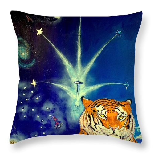 Jets Throw Pillow featuring the painting Bennie With And The Jets by Benneth Wilson