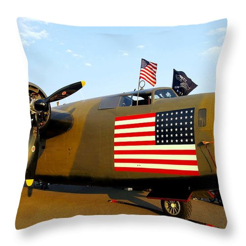 Aircraft Throw Pillow featuring the photograph B-24 Bomber - Diamond Lil by Amy McDaniel