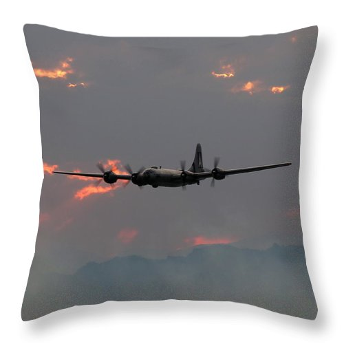 Aircraft Throw Pillow featuring the photograph B-29 Bomber Aircraft In Sunset Flight by Amy McDaniel