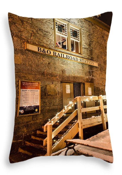 Throw Pillow featuring the photograph B And O Station Museum by Dana Sohr