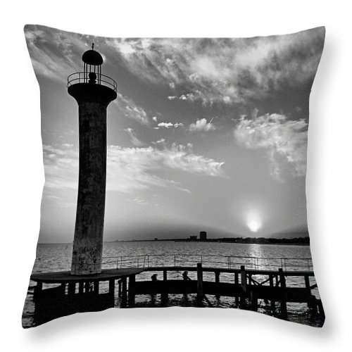 Sunset Throw Pillow featuring the photograph B And W Biloxi Sunset I Mlo by Mark Olshefski