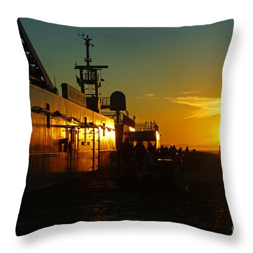 Sunsets Throw Pillow featuring the photograph B C Ferries Sunsets Sc3417-13 by Randy Harris