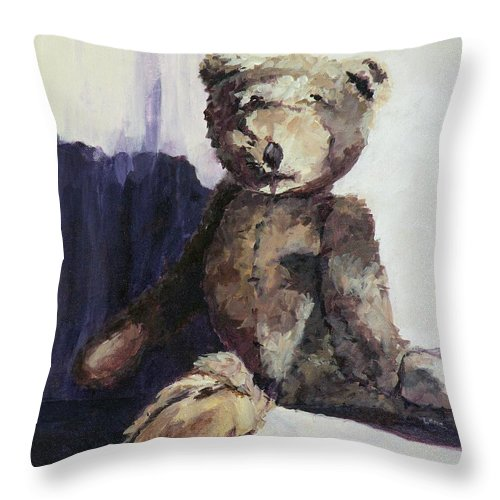 Bears Throw Pillow featuring the painting Baby Bear by Saundra Lane Galloway