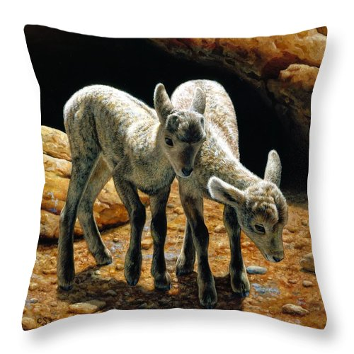 Bighorn Throw Pillow featuring the painting Baby Bighorns by Crista Forest