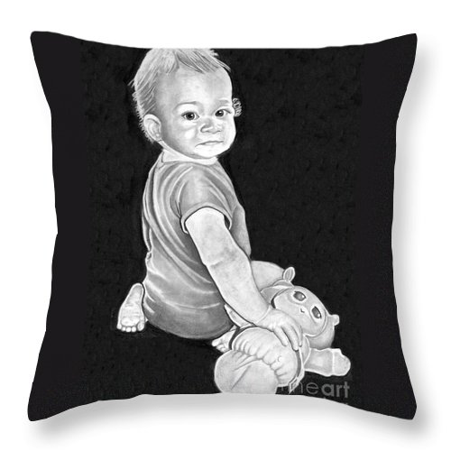 Pencil Throw Pillow featuring the drawing Baby by Bill Richards