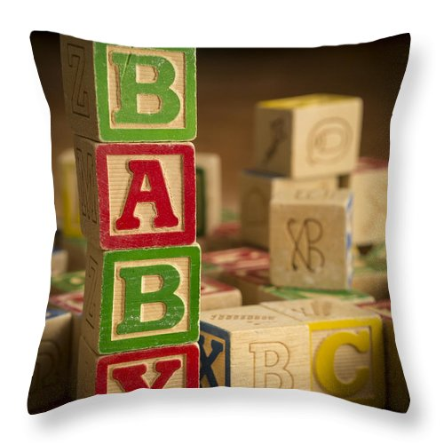 Blocks Throw Pillow featuring the photograph Baby Blocks by Edward Fielding