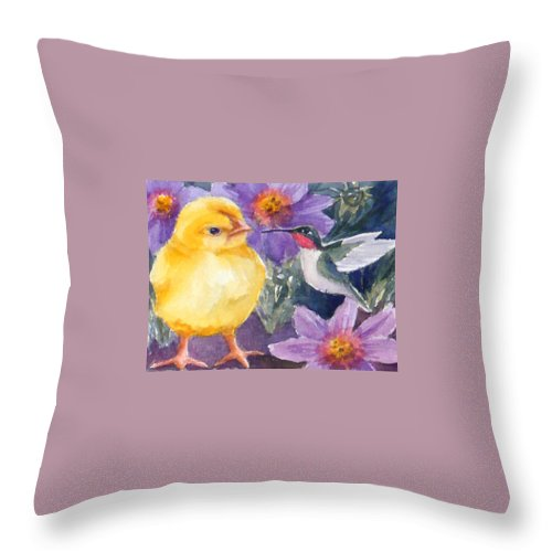 Fine Art Print Throw Pillow featuring the painting Baby Chick And Hummingbird by Janet Zeh