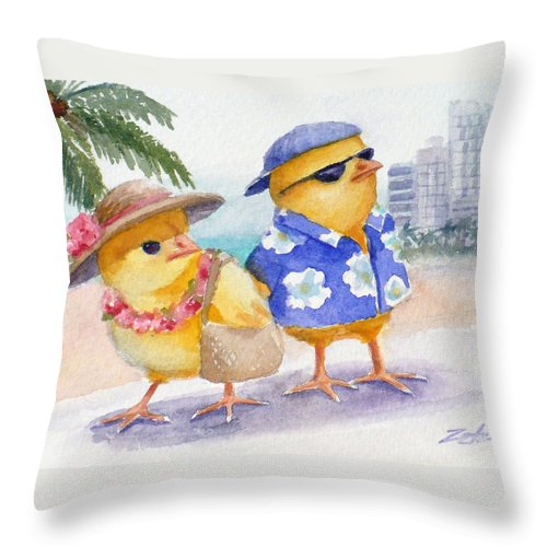 Ferdinand And Nina Throw Pillow featuring the painting Baby Chicks In Honolulu Hawaii by Janet Zeh