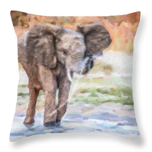 Baby Elephant Throw Pillow featuring the digital art Baby Elephant Spraying Water by Liz Leyden
