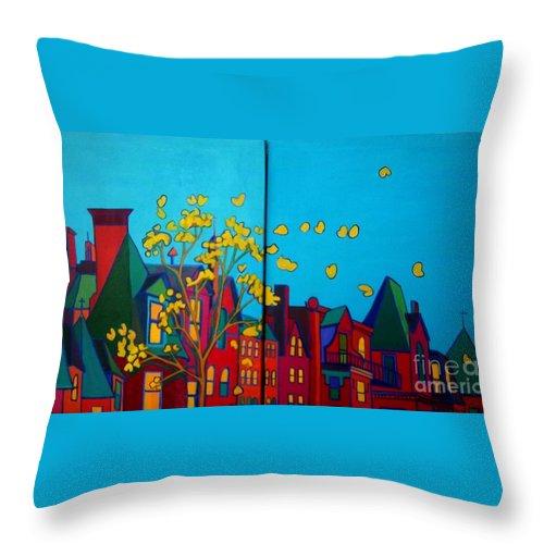 Boston Throw Pillow featuring the painting Back Bay Boston by Debra Bretton Robinson