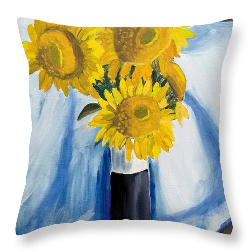Yellow Throw Pillow featuring the painting Back Bay Sunflowers by Carmela Cattuti