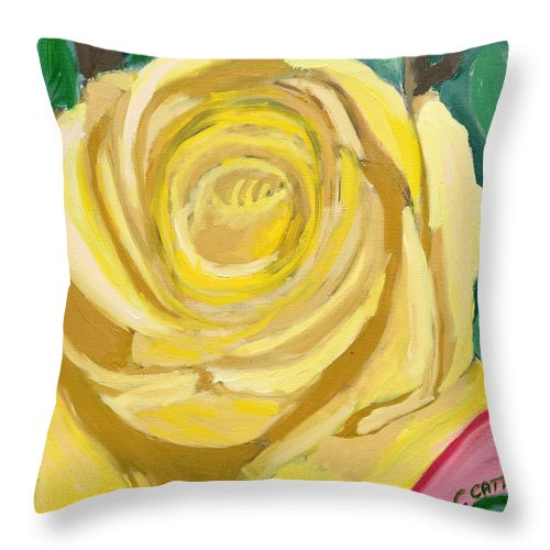 Yellow Rose Throw Pillow featuring the painting Back Bay Yellow Rose by Carmela Cattuti
