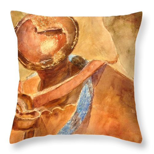 Back In The Saddle Throw Pillow featuring the painting Back In The Saddle by Shannon O'Donnell Shannon Gurley O'Donnell