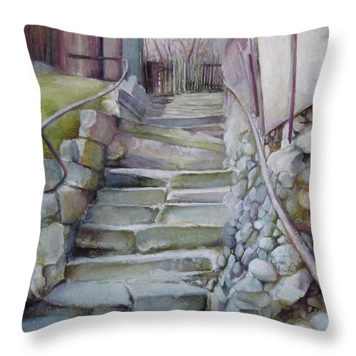 Stairs Throw Pillow featuring the painting Back In Time by Elena Oleniuc