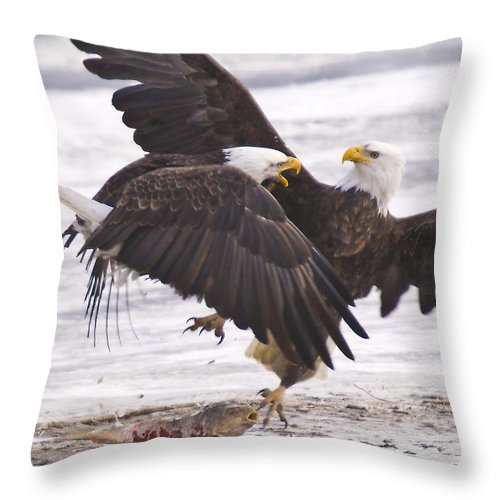 Bald Eagles Throw Pillow featuring the photograph Back Off by Scott Moss
