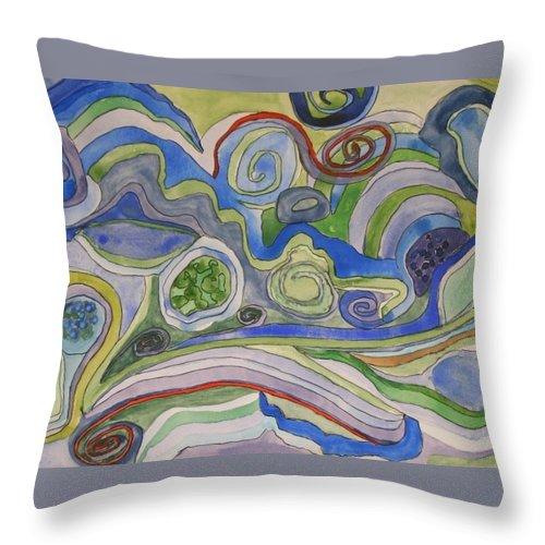 Watercolour Throw Pillow featuring the painting Back Roads - Panel II by Sandra Gail Teichmann-Hillesheim