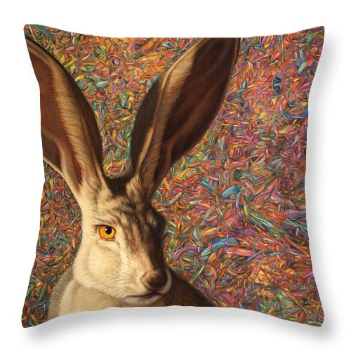 Rabbit Throw Pillow featuring the painting Background Noise by James W Johnson