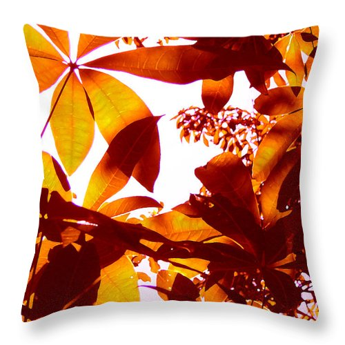 Garden Throw Pillow featuring the painting Backlit Tree Leaves 2 by Amy Vangsgard