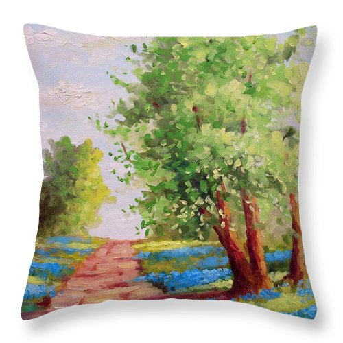 Bluebonnets Throw Pillow featuring the painting Backroad Bluebonnets by David G Paul