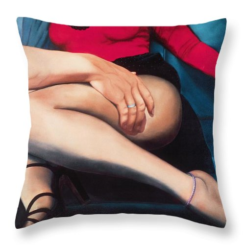 Sensual Throw Pillow featuring the painting Backseat Number by Mary Ann Leitch