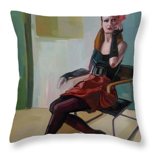Woman Portrait Throw Pillow featuring the painting Backstage by Carmen Stanescu Kutzelnig