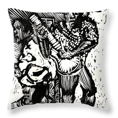 Backyard Music Throw Pillow featuring the mixed media Backyard Music by Seth Weaver