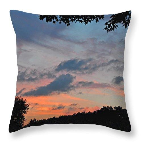 Landscapes Throw Pillow featuring the photograph Backyard Sunset by Deborah Good
