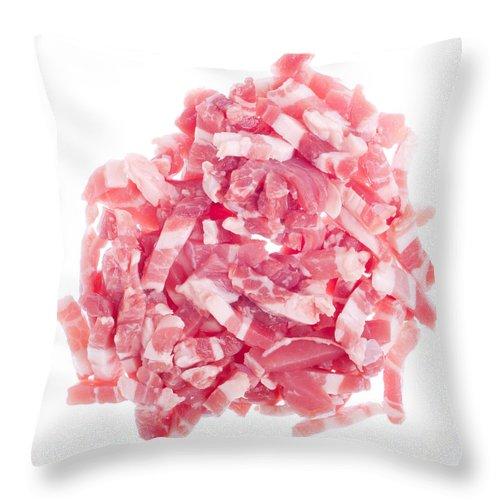 Bacon Throw Pillow featuring the photograph Bacon Pieces by Luis Alvarenga