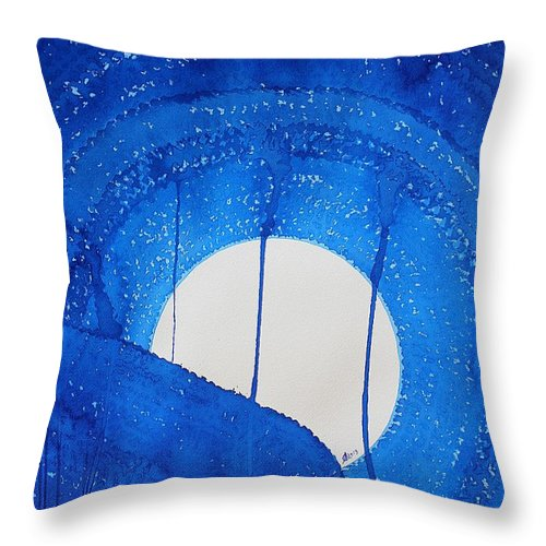 Moon Throw Pillow featuring the painting Bad Moon Rising Original Painting by Sol Luckman
