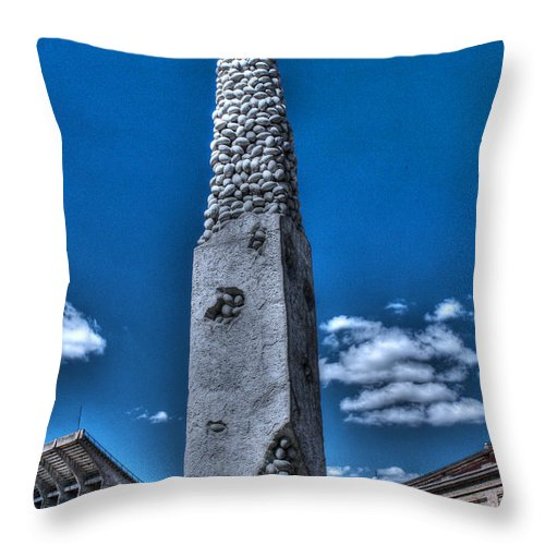 Camp Randall Throw Pillow featuring the photograph Badger Football Memorial by Tommy Anderson