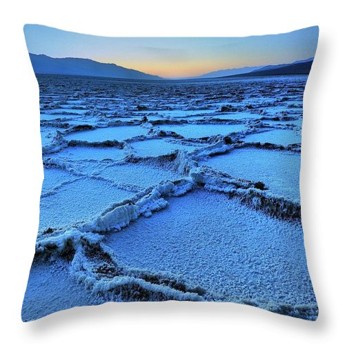 Tranquility Throw Pillow featuring the photograph Badwater Dusk, Death Valley, California by Joao Figueiredo