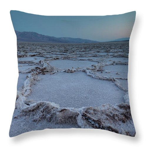 Tranquility Throw Pillow featuring the photograph Badwater Salt Flats by Henryk Welle