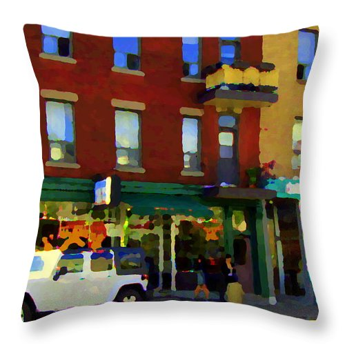 Throw Pillow featuring the painting Bagels And Tea St Viateur Bakery And Davids Tea Room Montreal City Scenes Art Carole Spandau by Carole Spandau