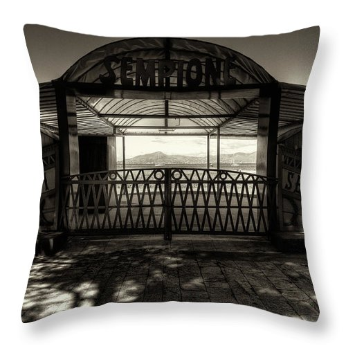 B&w Throw Pillow featuring the photograph Bagni Sempione by Roberto Pagani