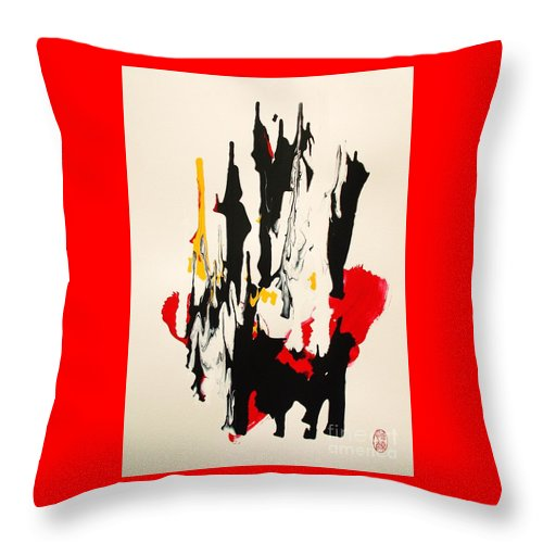Original Throw Pillow featuring the painting Bahha No Koraru O Utau by Roberto Prusso