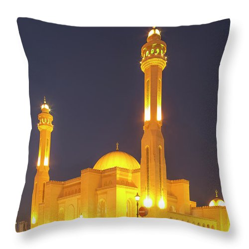 Tranquility Throw Pillow featuring the photograph Bahrain. Manama. The Al Fateh Grand by Buena Vista Images