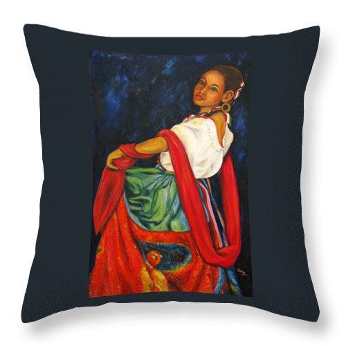Baile Throw Pillow featuring the painting Baile Conmigo by Pat Haley