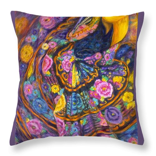 Mexican Throw Pillow featuring the painting Baile En Las Flores by Pat Haley