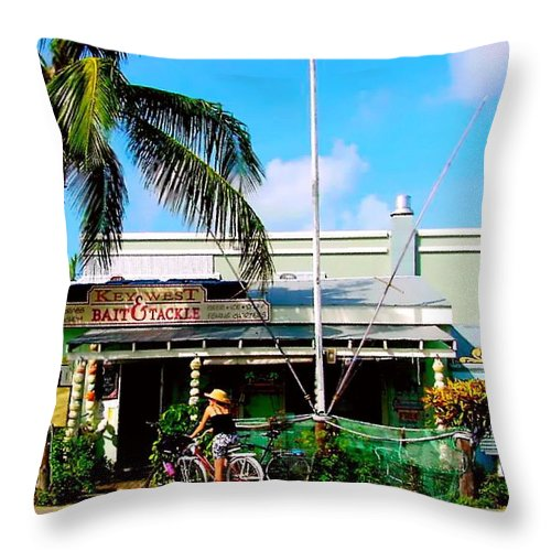 Key West Painting Throw Pillow featuring the painting Bait And Tackle Key West by Iconic Images Art Gallery David Pucciarelli