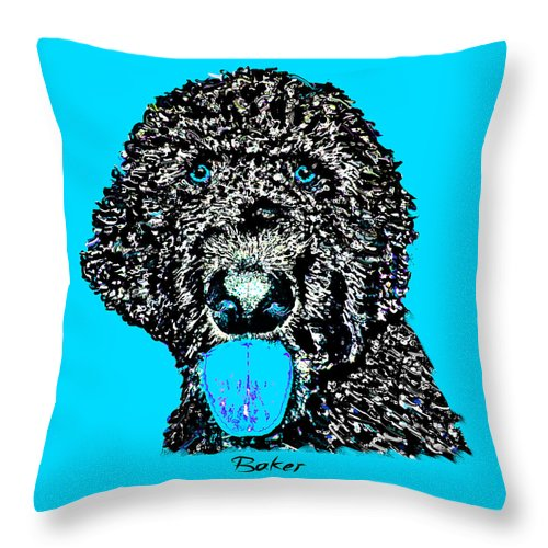 Poodle Throw Pillow featuring the digital art Baker by Dale Hall