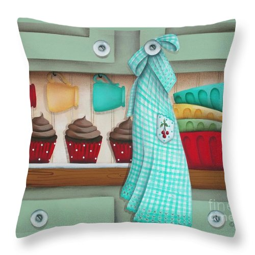 Art Throw Pillow featuring the painting Baking Day by Catherine Holman