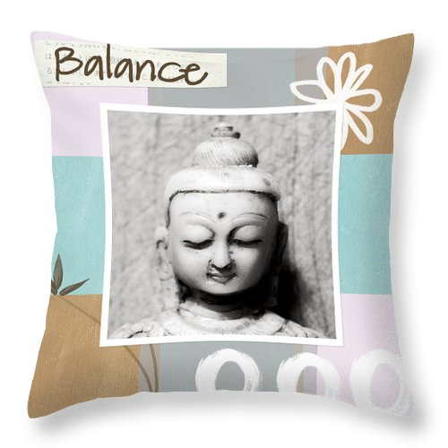 Buddha Throw Pillow featuring the painting Balance- Zen Art by Linda Woods