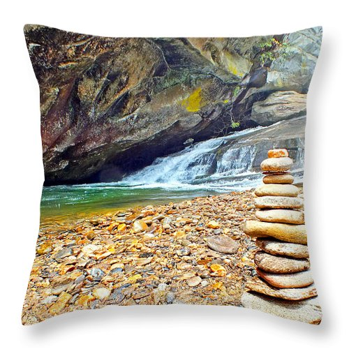 Duane Mccullough Throw Pillow featuring the photograph Balanced River Rocks At Birdrock Waterfalls Filtered by Duane McCullough