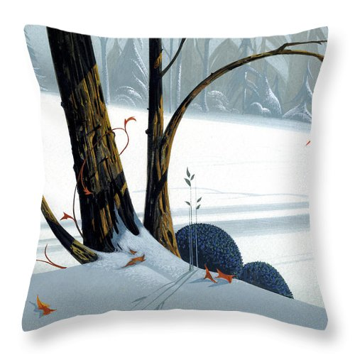 Winter Landscape Throw Pillow featuring the painting Balancing Act by Michael Humphries