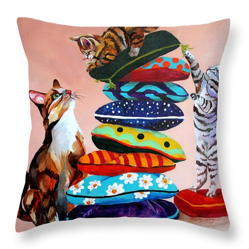 Cats Throw Pillow featuring the painting Balancing Act by Sherry Shipley